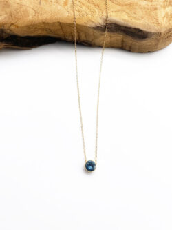 Collier Blue Round Diamond